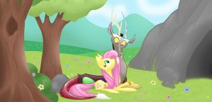 Simply Discord And Fluttershy  Lying around by Meskitt