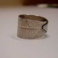 Adjustable Sterling  Leaf Ring by MarieCristine