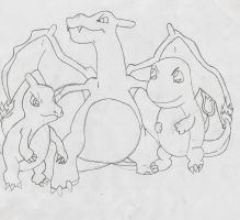 Charmander, Charmelon, and Charizard by EzmeAG98