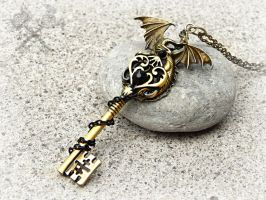Obsidian Dragon Key Necklace by ArtByStarlaMoore