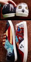 Harry Potter Sharpied Shoes by Adriellovesart