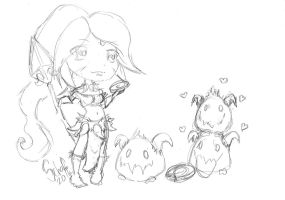 Nidalee and Poros sketch by lill-chan