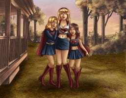 1st Family Portrait.Supergirls by kclcmdr