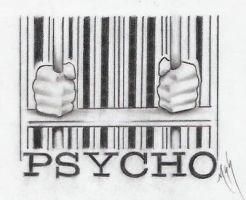 psycho barcode graphite by markfellows
