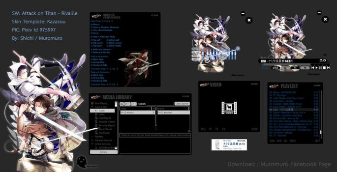 [Skin Winamp] Attack on Titan-Rivaille by Shiwoo28