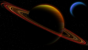 Orange and Blue planet by Blekee