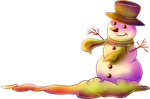 Sunset snowman by Nesmaty