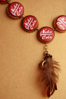 Golden Nuka Cola Necklace with Charm by appleofecstacy