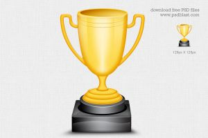 Gold Trophy Cup Icon by psdblast
