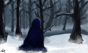 Wanderer in Winter Woods (Speed Painting) by studioofmm