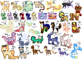 HUGE ADOPT SHEET : 30+ CHARACTERS UNDER 30 POINTS by sheriiquills