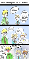 Pizza Is The Equivalent Of A Tomato- Hetalia Comic by ImMixyAndImBlue