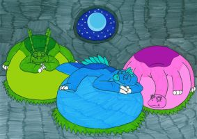 Sleepy Bellies at night by MCsaurus