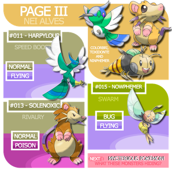 Page III : New pokemon and their evolutions by Nei7alves