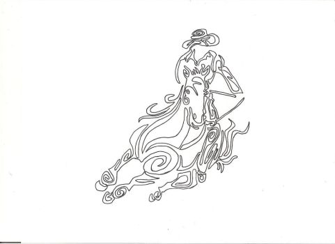 barrel racing tribal tattoo design by countrygirllover