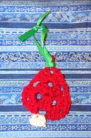 Red Sparkle and White Sparkle Crocheted Tree Ornam by AlleyKat666