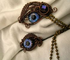 Bronze Blue Nebula Steampunk Eye Set by LadyPirotessa