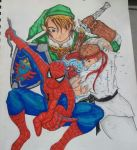 Link, Ryu and Spider-man by ChrisKensou