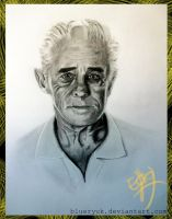 Comission: Charcoal Portrait Old Men by blueryuk