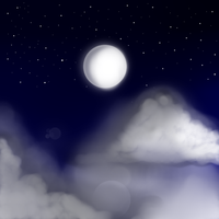 Moon and clouds by Remysaur
