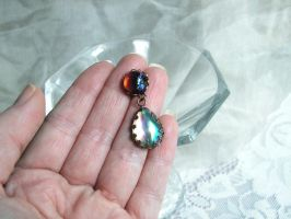 Dragon's Breath Earrings with shimmer white Opals by artistiquejewelry