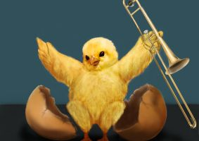 Chicken with a Trombone by thesadpencil