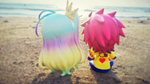 Sora and Shiro: At the Beach by emeraldbeam