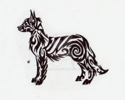 Dog Tribal Tattoo by Skrayle