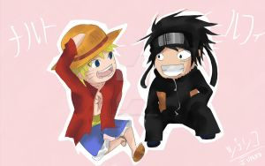 Luffy x Naruto by l0lStephxl0l