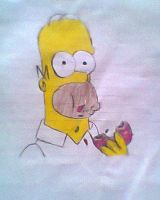Homer eating a donut by Haruhiy