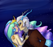 Celestia And Discord by QuinePeather