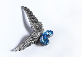 Aquamarine Wing Earrings by Aranwen
