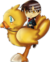 'Chibi Kid on a gold Chocobo' by Suesanne
