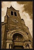Church and Clouds by Oaken-shield