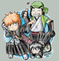 Bleach- Ichigo, Ganju and Hana by BettyKwong