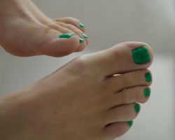 Smurfette's Toes in Green 4 by Feetatjoes