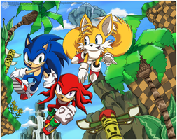 Team Sonic :: Green Hill by Shirogahara
