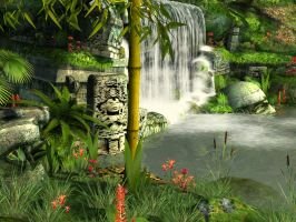 Mayan waterfall background 2 by indigodeep