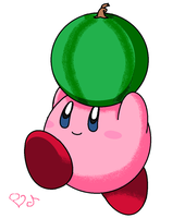Kirby and watermelon by PikaKirby6595
