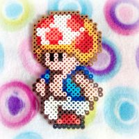 Toad Perler Bead Sprite (Super Mario Bros. 2) by MadameWario