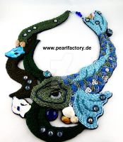 Aquarius - Bead Embroidery necklace by Muriel-Leland