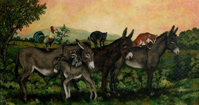 Painting with Donkeys by Vulkanette
