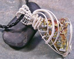 BIG Bismuth Crystal an Silver Wire-Wrapped Pendant by HeatherJordanJewelry