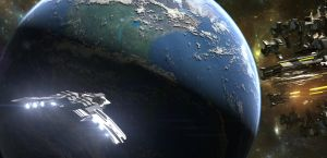 Spaceship and particle accelerator over Earth by adaminator1