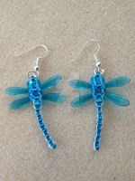 Beaded Dragonfly Earrings - Blue by WhiteMagicPriestess