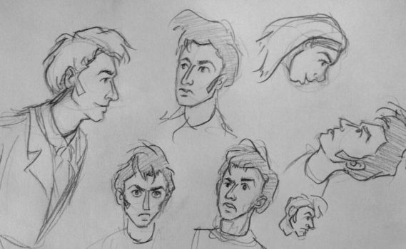 Sketchbook Doodly Faces 1 by pkmarie