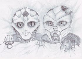 Drell and Turian by Angua33