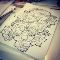 sugar skull x 4 by DaveSeven92