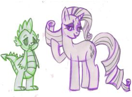 Commision for alevegaliolios-Rarity and Spikewikey by SweetAbril
