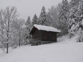 Snowy chalet during snow fall by A1Z2E3R